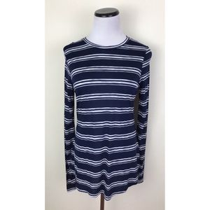 Tops - NWT Navy Blue & White Striped Long Sleeve Shirt